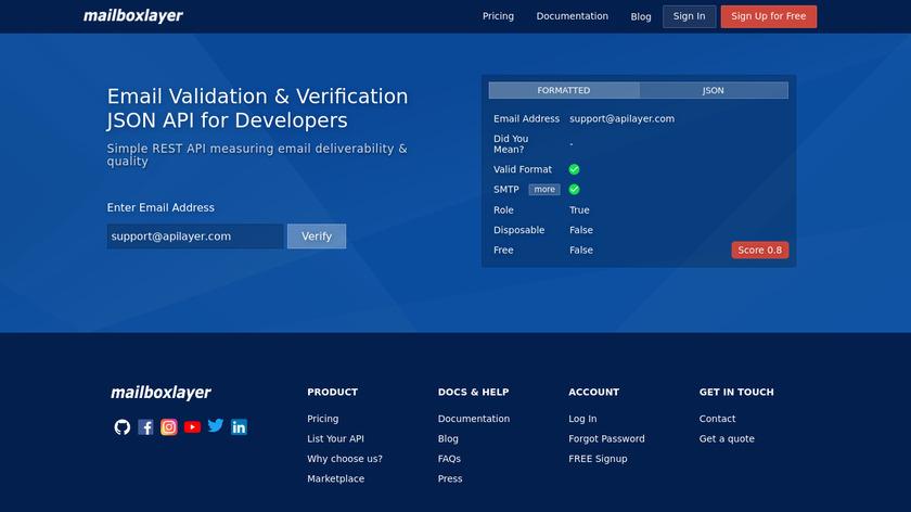 mailboxlayer API Landing Page