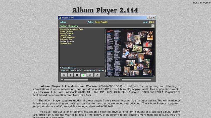Album Player Landing Page