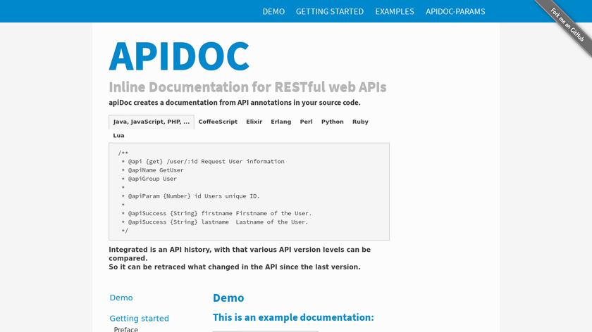 APIdoc Landing Page