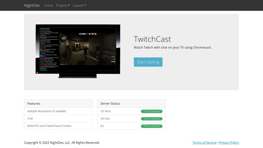 TwitchCast Landing Page