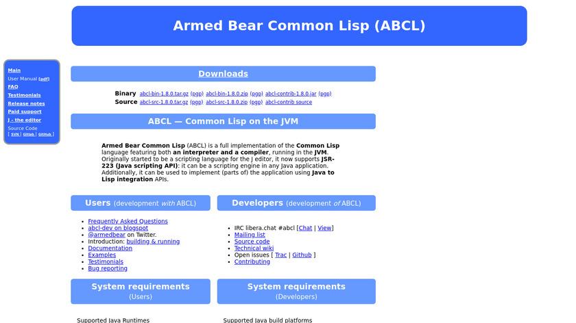 Armed Bear Common Lisp Landing Page