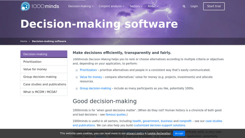 1000Minds Decision-Making Software Landing Page
