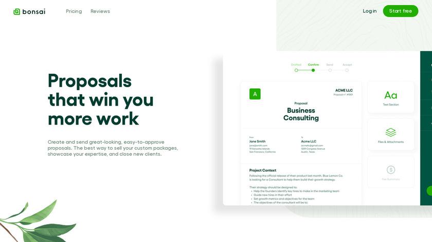 Bonsai Proposals Landing Page