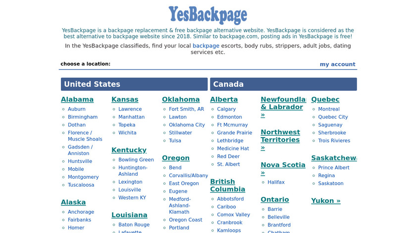 YesBackpage Landing Page