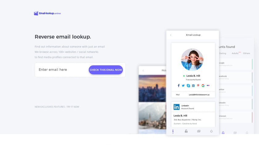 Email Lookup Landing Page