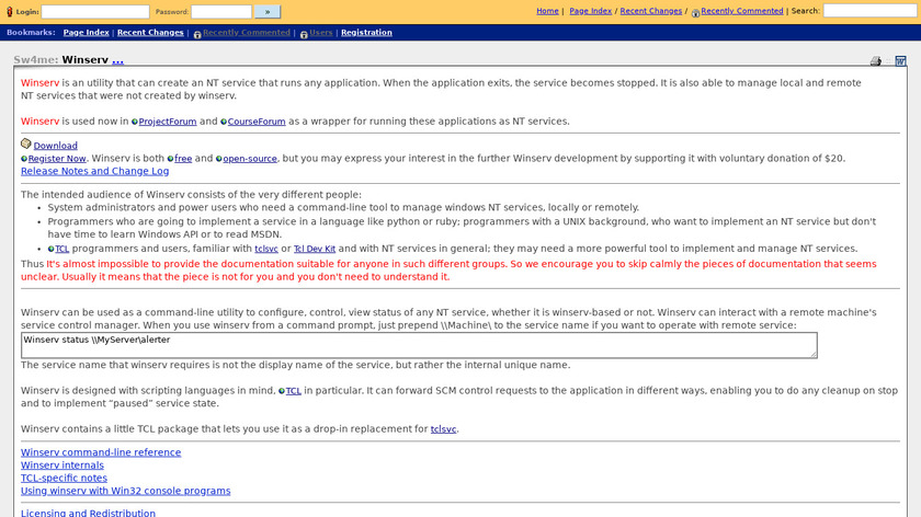 Winserv Landing Page