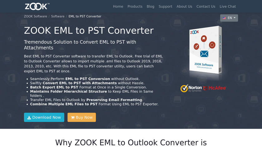 ZOOK EML to PST Converter Landing Page