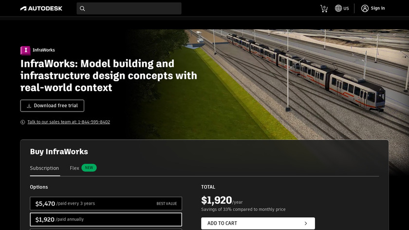 AutoDesk InfraWorks 360 Landing Page