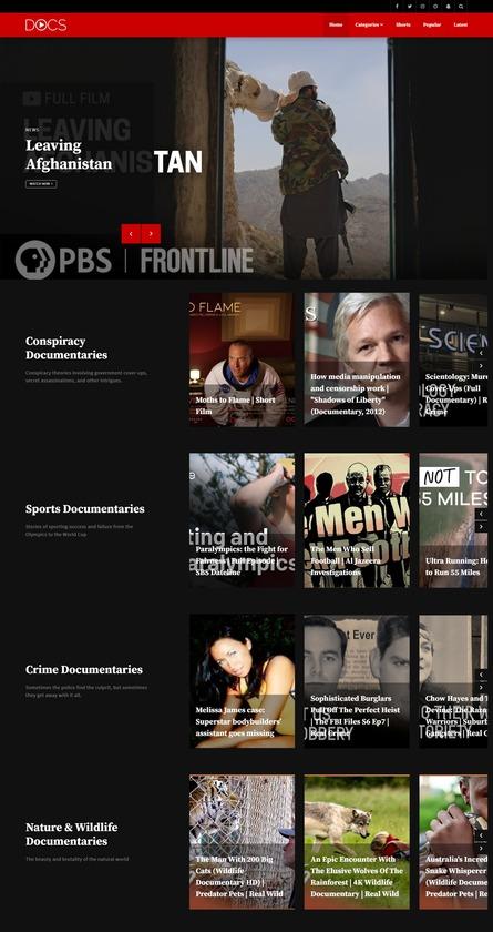 Documentaries.io Landing Page