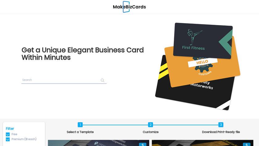 MakeBizCards Landing Page