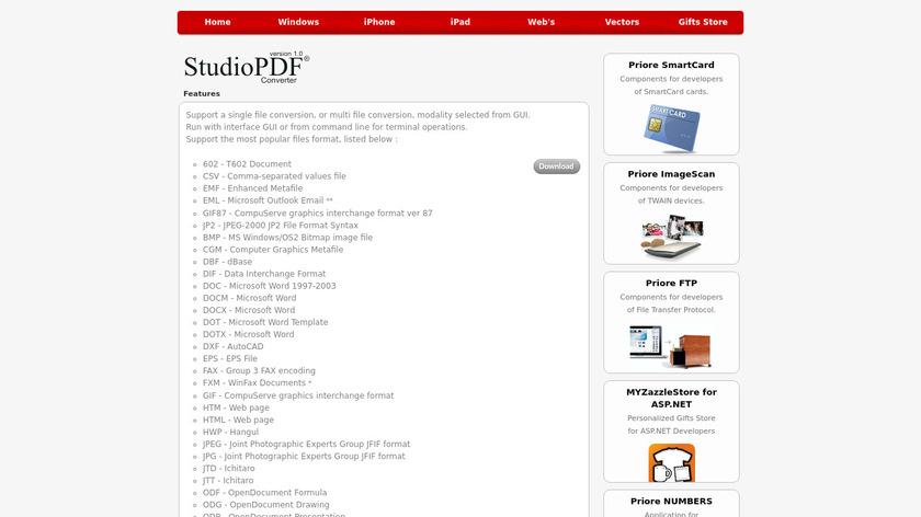 Priore StudioPDF Landing Page