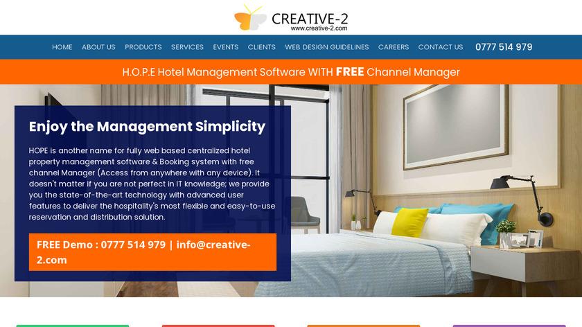 H.O.P.E Hotel Management Software Landing Page
