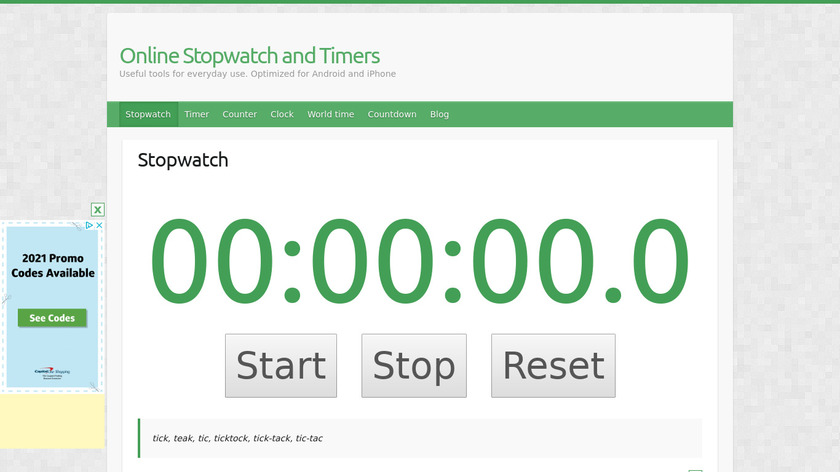 Online Stopwatch and Timers Landing Page