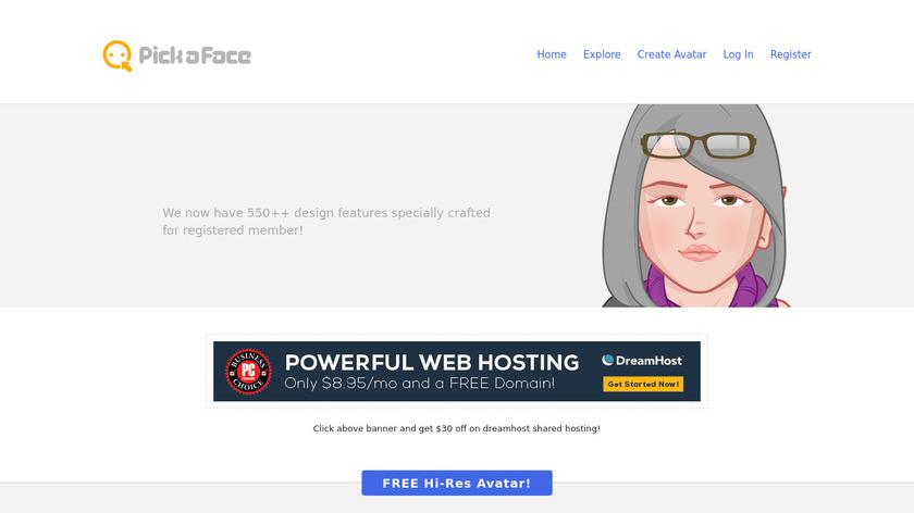Pickaface.net Landing Page