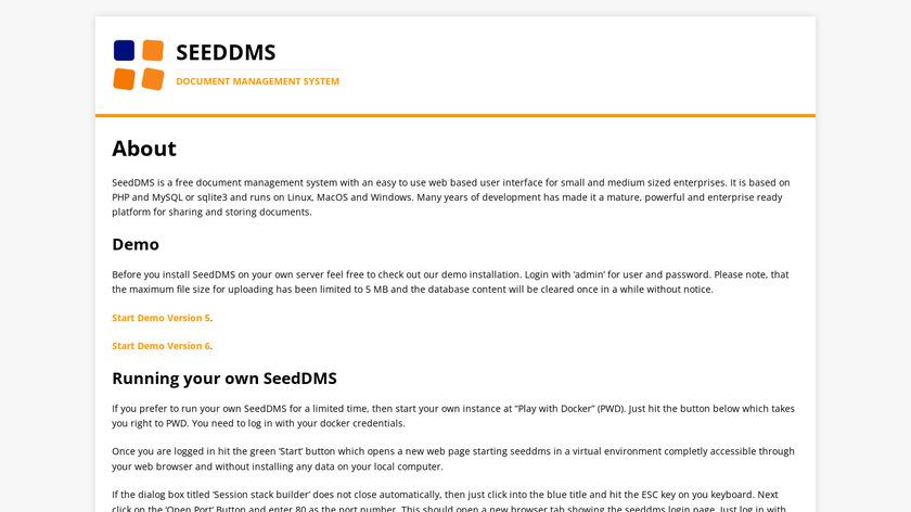 SeedDMS Landing Page