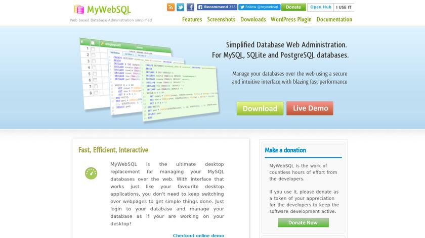 MyWebSQL Landing Page