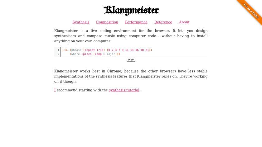 Klangmeister Landing Page