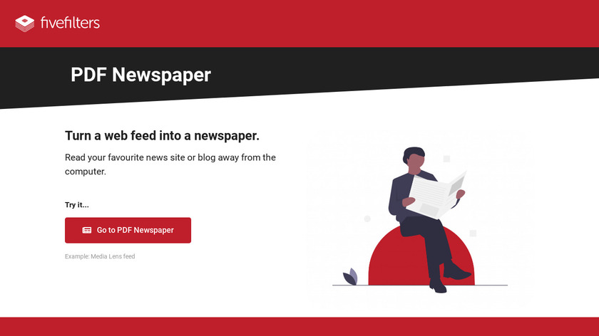 FiveFilters PDF Newspaper Landing Page