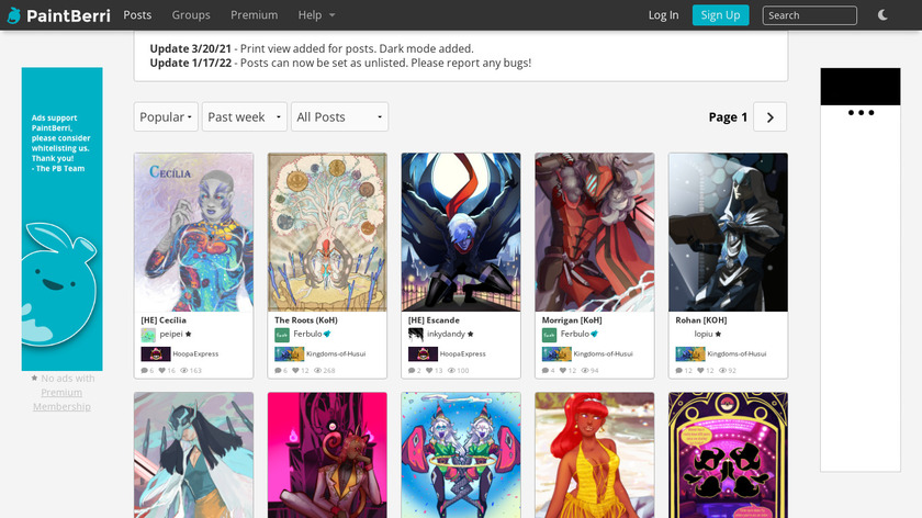 PaintBerri Landing Page