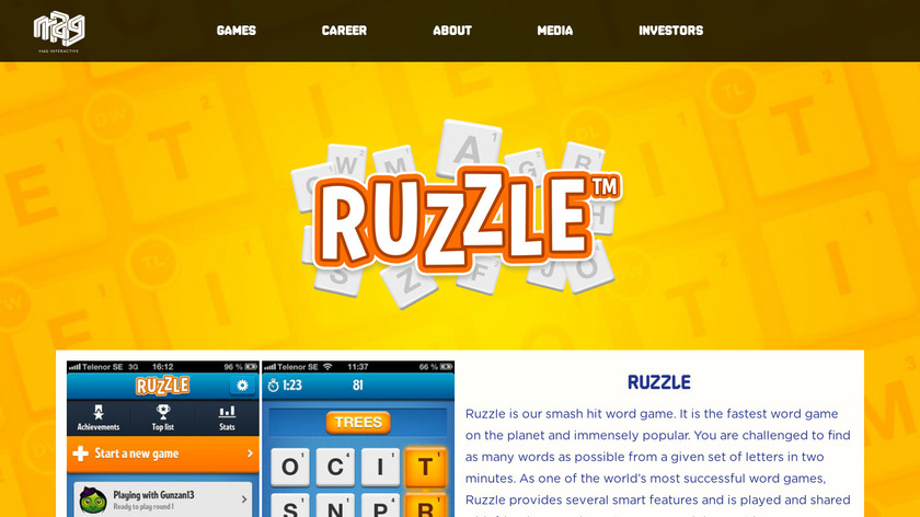 Ruzzle Landing Page