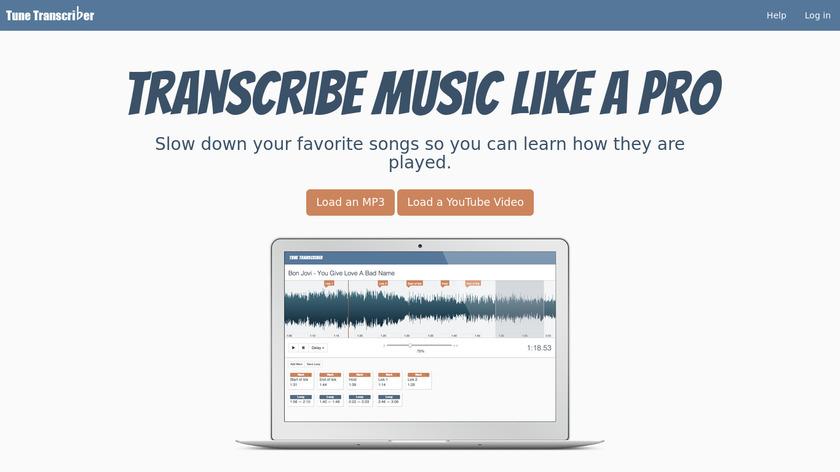 Tune Transcriber Landing Page