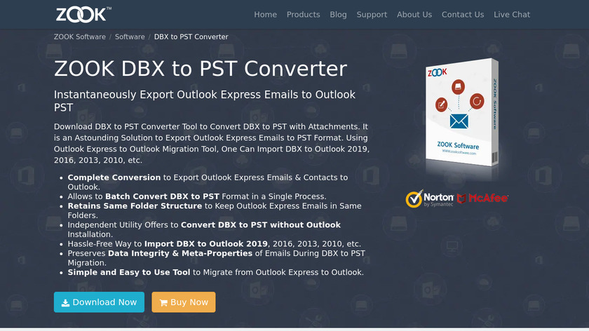 ZOOK DBX to PST Converter Landing Page