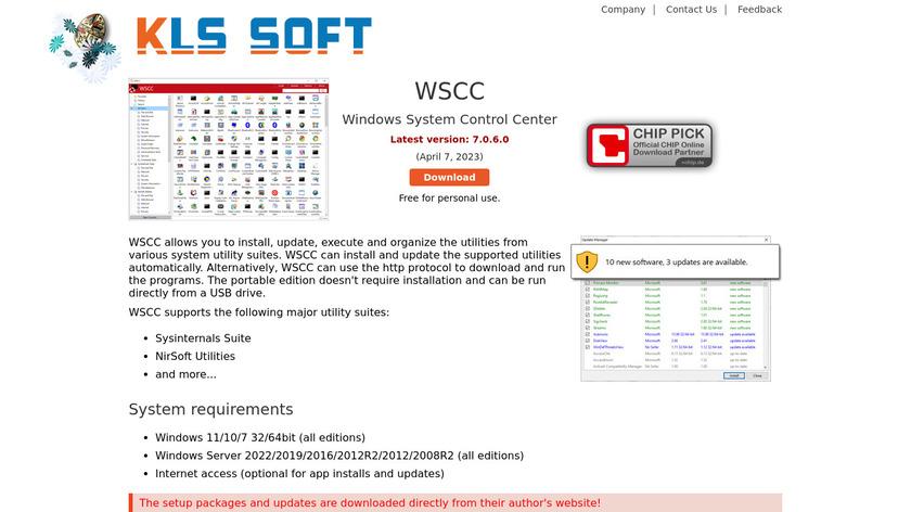 Windows System Control Center Landing Page