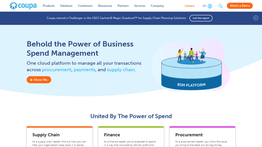 Coupa Unified Spend Suite Landing Page
