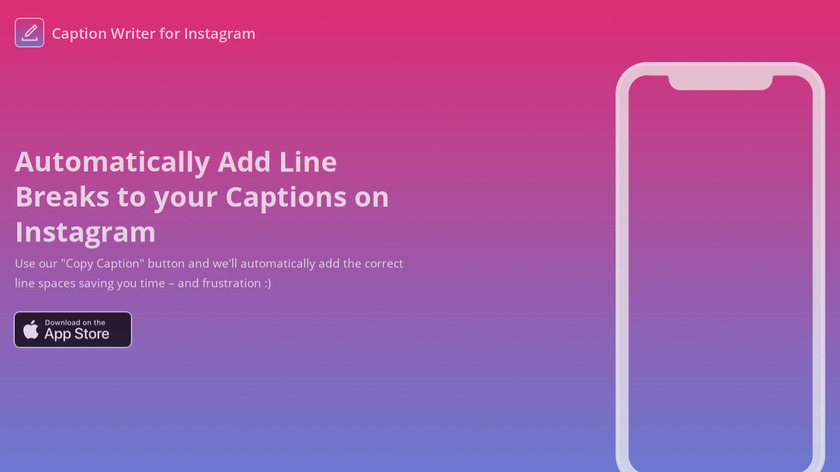 Caption Writer for Instagram Landing Page