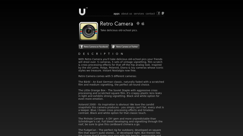 Retro Camera Landing Page