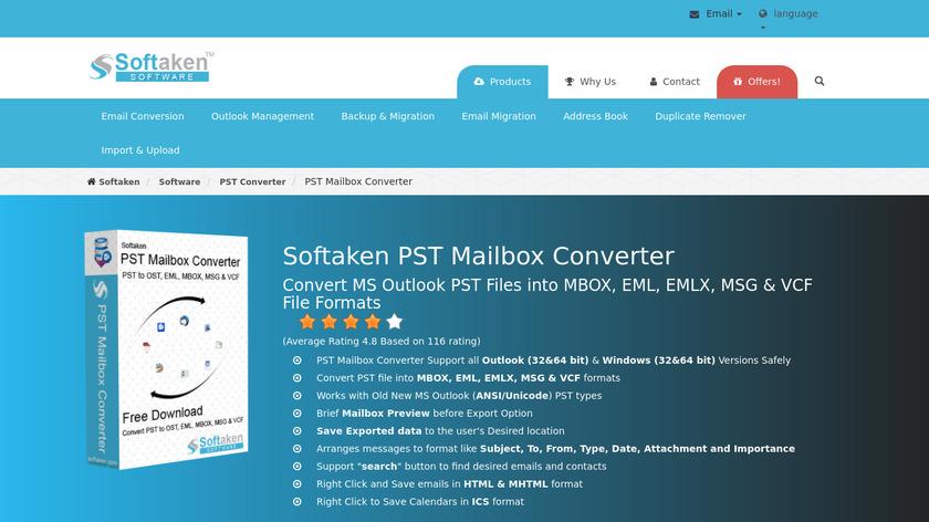 Softaken PST Mailbox Converter Landing Page