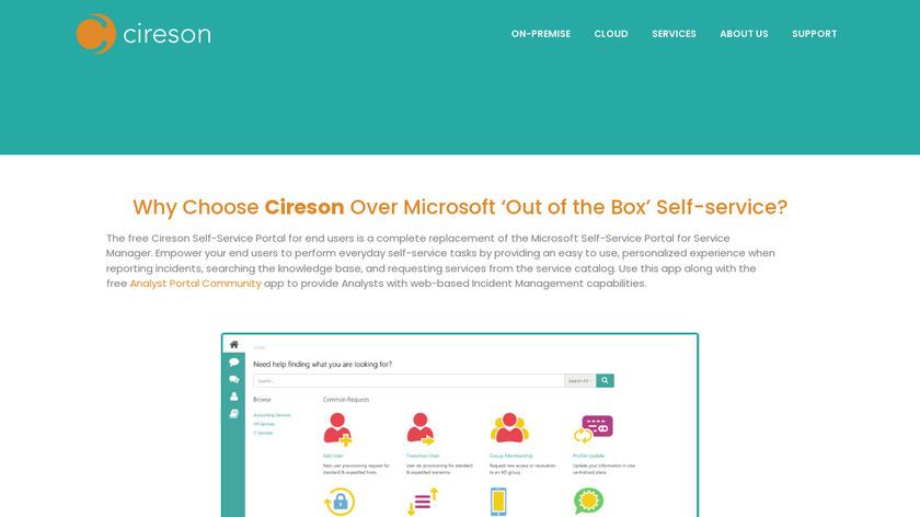 Cireson Self-Service Portal Landing Page