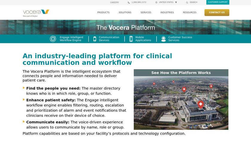 Vocera Communication Platform Landing Page