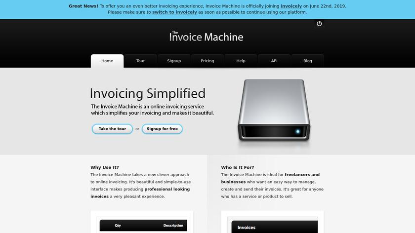 The Invoice Machine Landing Page