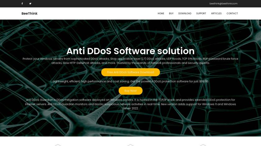 Anti DDoS Guardian Landing Page