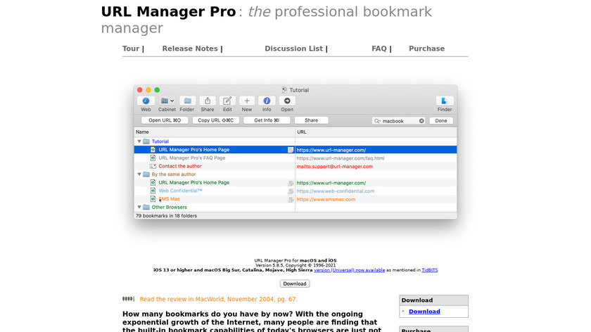 URL Manager Pro Landing Page