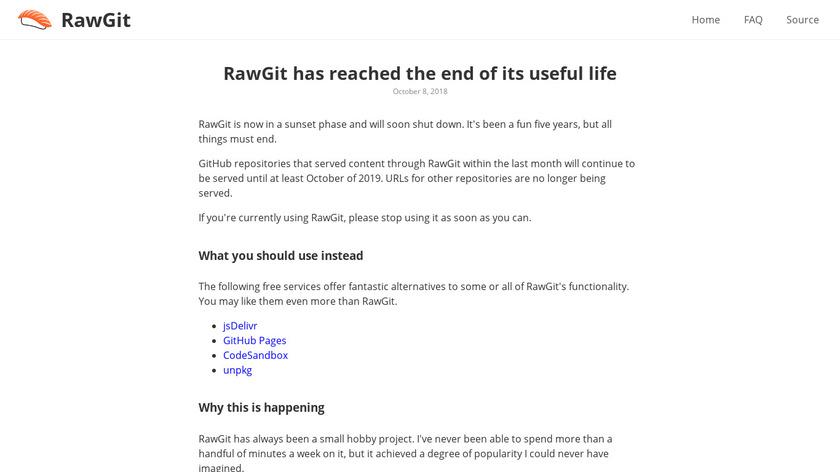 RawGit Landing Page
