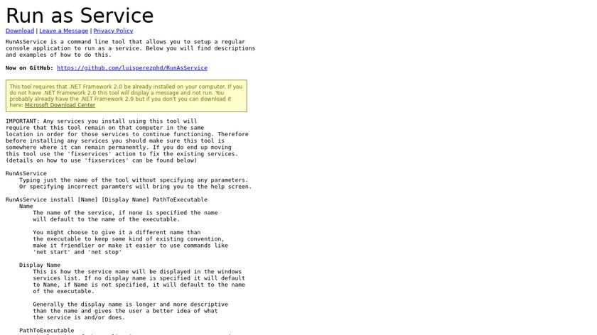Run as Service Landing Page