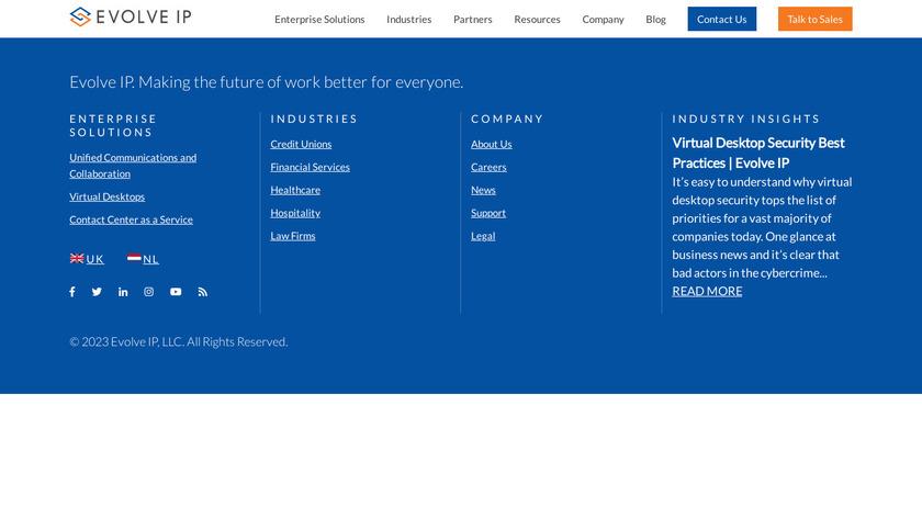 Evolve IP Virtual Desktop Landing Page