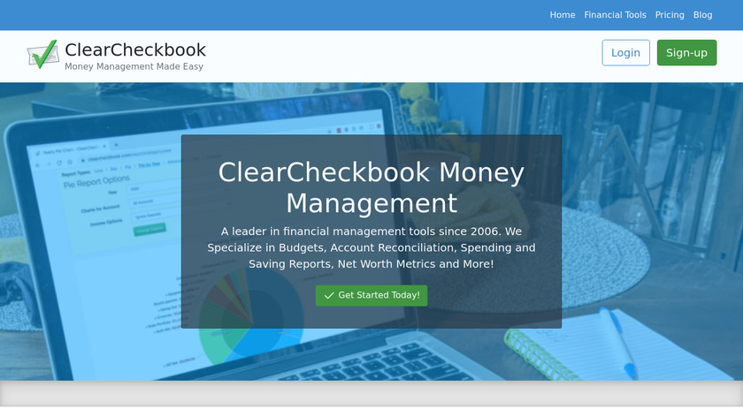 ClearCheckbook Landing Page