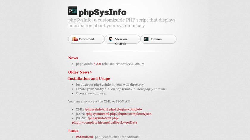 PhpSysInfo Landing Page