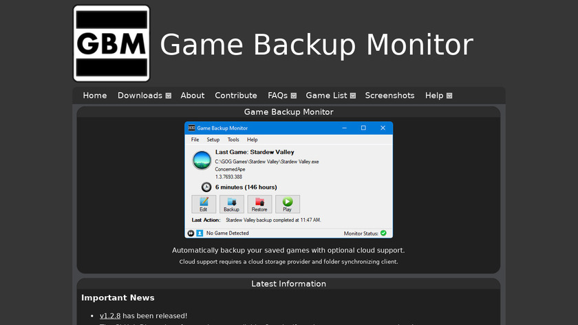 Game Backup Monitor Landing Page