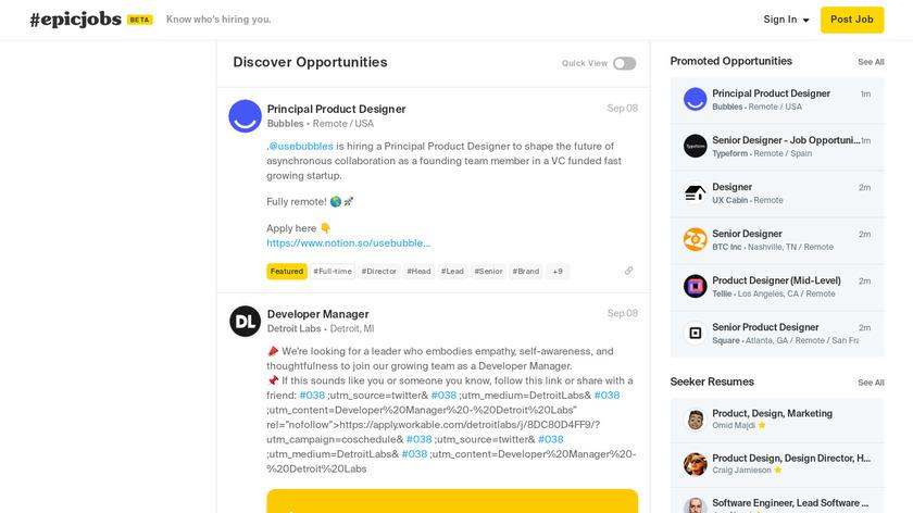 Epic Jobs Landing Page