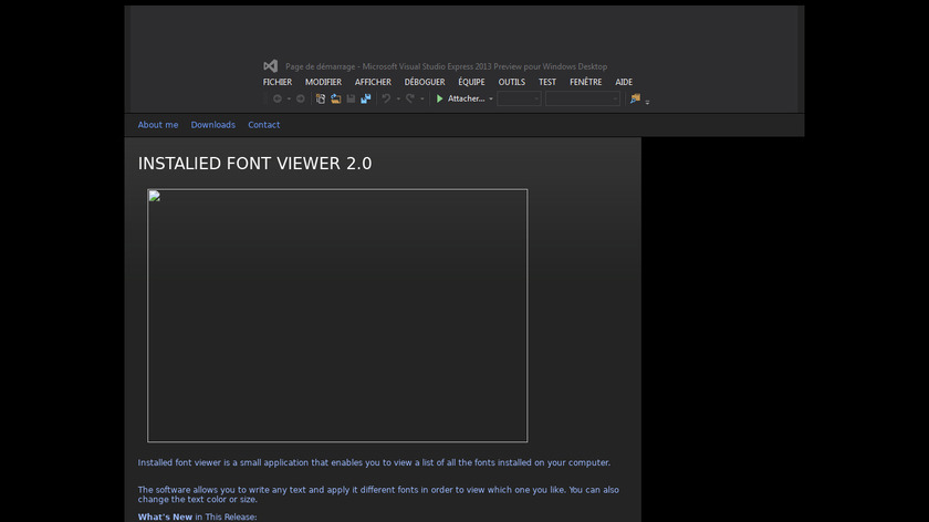 Installed font viewer Landing Page
