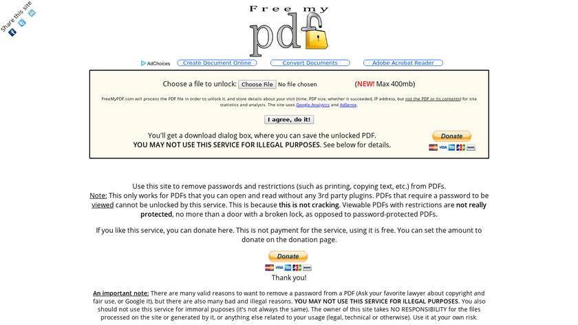 FreeMyPDF.com Landing Page
