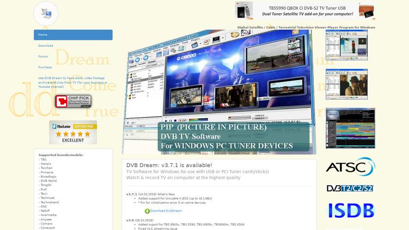 DVB Dream Landing Page