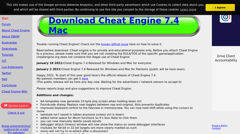 Cheat Engine Landing Page