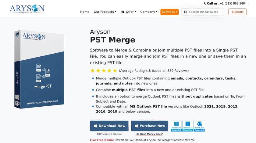 Aryson Merge PST Landing Page