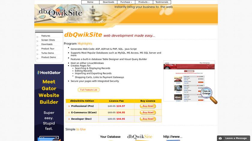 dbQuikSite Landing Page