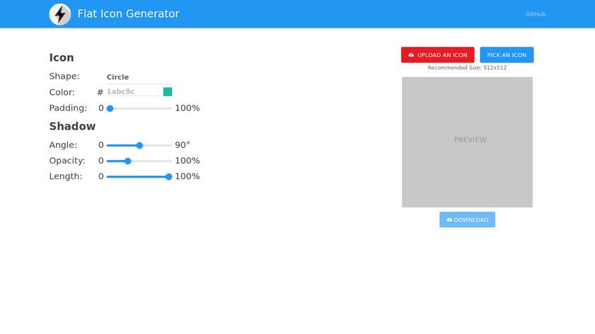 Flat Icon Generator Landing Page